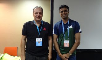 Kapil Lohana with chess Grandmaster Efstratios Grivas