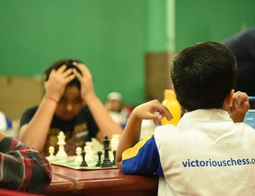 chess players in tense and relax mode between match