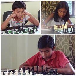 Sanika Telang, Yashwant Telang, and Disha Dhore playing chess