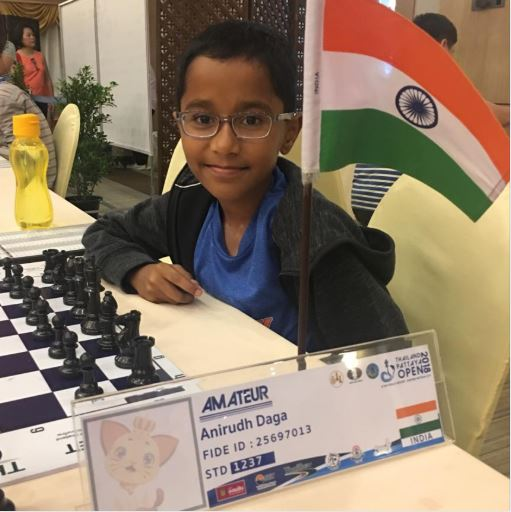 Anirudh Dhaga with indian flag in International Chess Tournament