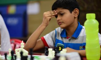 chess player in deep thinking