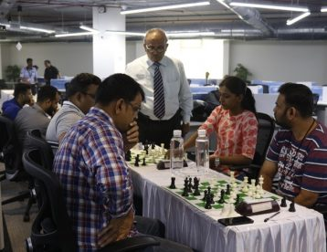 International Arbiter Nitin Shenvi Sir watching chess match in war of wits tournament