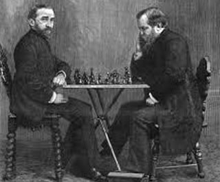 Wilhelm Steinitz playing chess